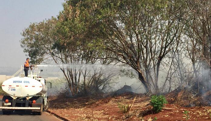Equipe da Defesa Civil e Serviços urbanos combatem as chamas (Foto: Divulgação)