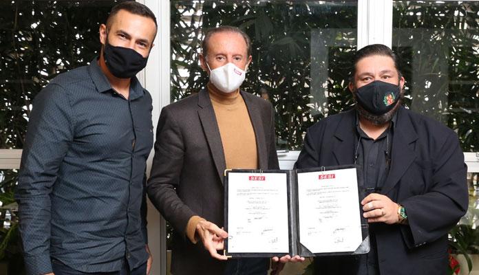 Vice-prefeito Chicão Rossetti e o diretor de Esportes João Cleber foram recebidos hoje pelo presidente da Fiesp, Paulo Skaf, em São Paulo (Foto: Divulgação)